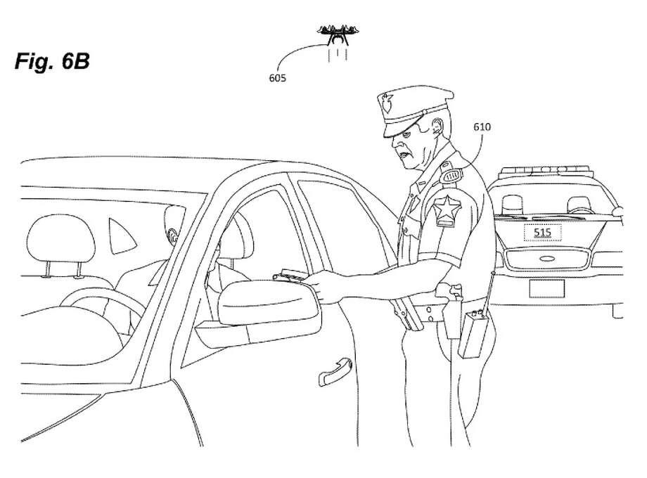 This drawing shows how a drone might be used to monitor a traffic stop. Amazon Technologies was granted a patent for the device last week. Photo: U.S. Patent And Trademark Office