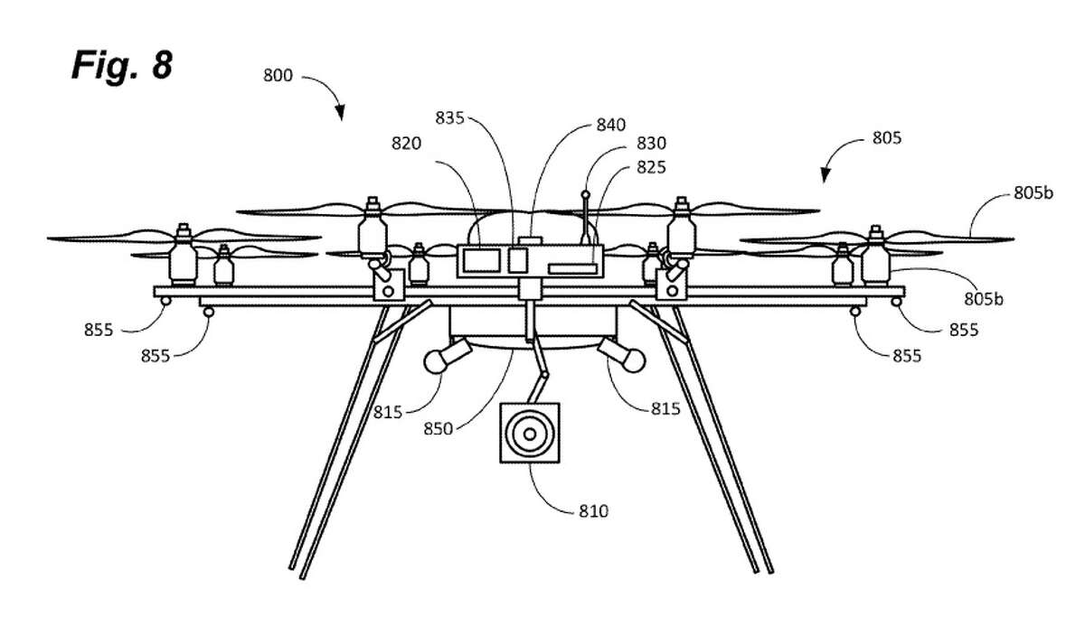 This drawing details what one of the miniature drones might look like. The little drones would not necessarily have a processor on board, so as to allow them to be designed much smaller than other drones. Amazon Technologies was granted a patent for the device last week.