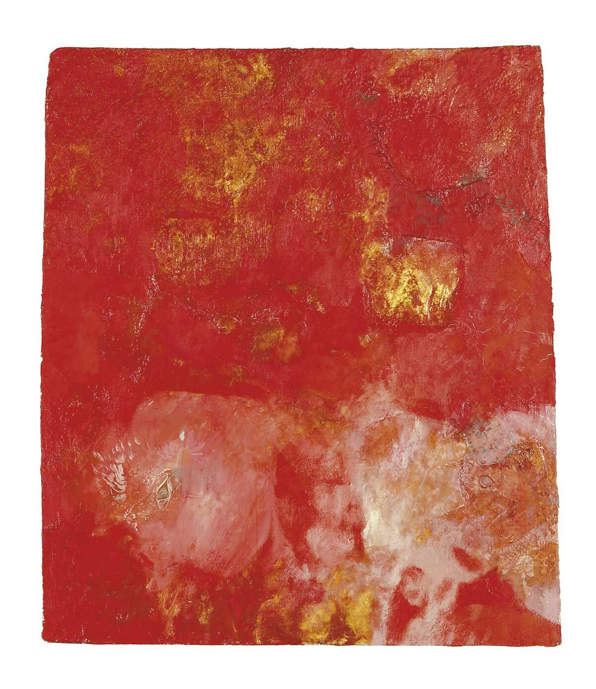 UNTITLED, May 10, 1957; oil and gold leaf on Masonite.