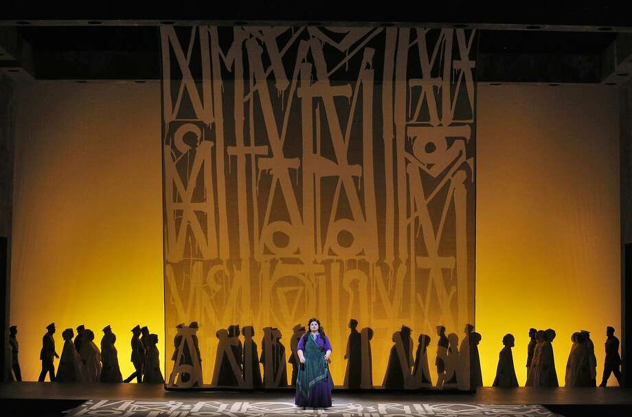 "Los Angeles graffiti artist Retna designed the set for the San Francisco Opera's new production of ""Aida."" Photo: Cory Weaver / San Francisco Opera"