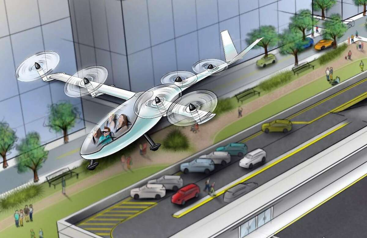 An illustration shows Uber's proposal for flying vehicles.