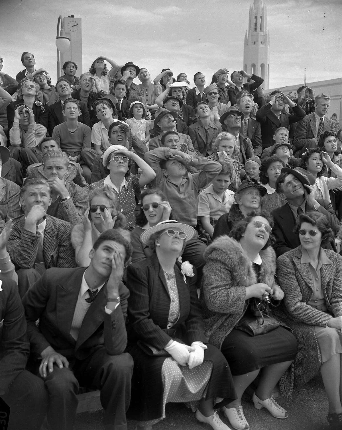 A view of the crowd at the Golden Gate International Exposition on Treasure Island in 1940.