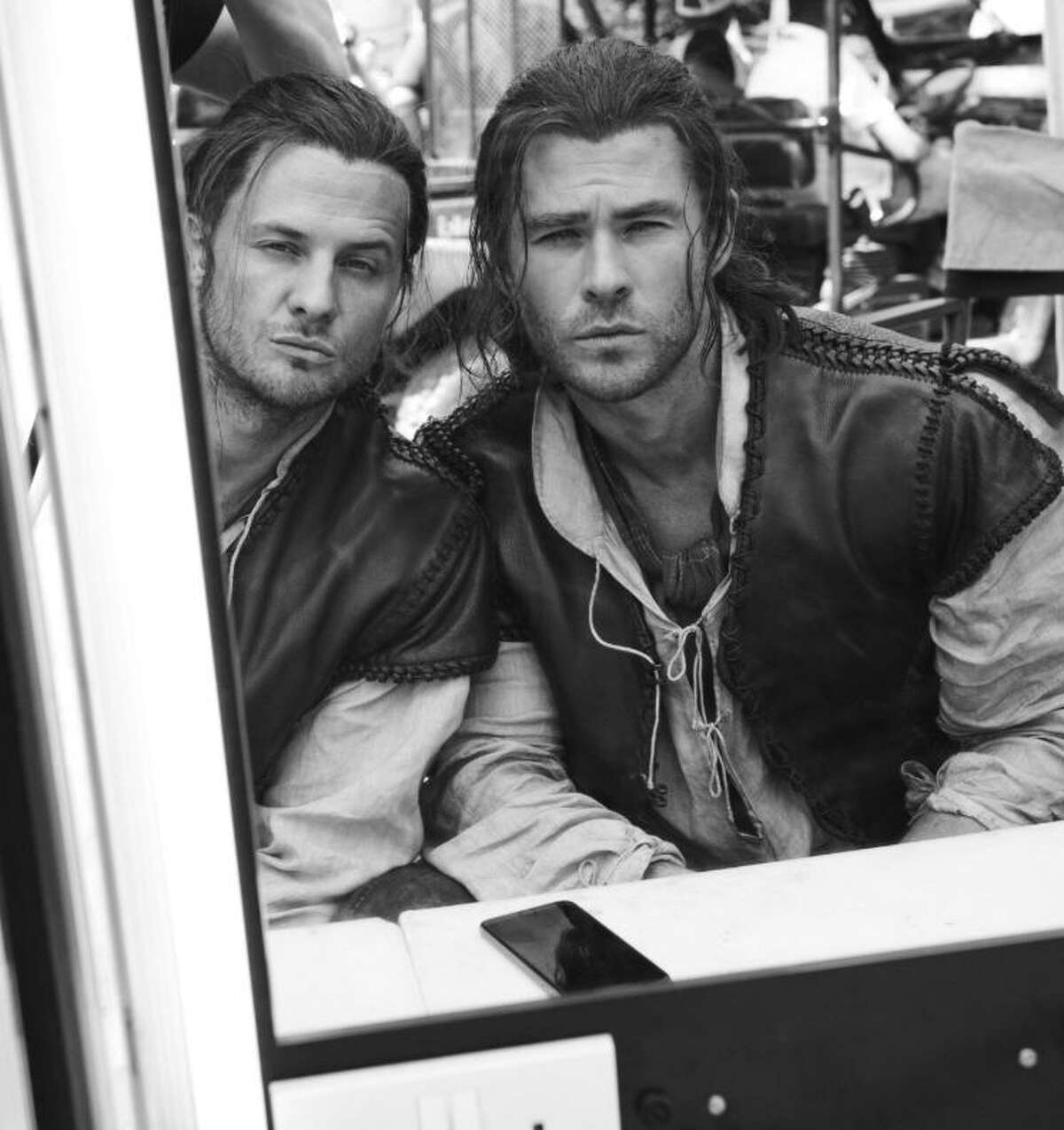 Stuntman Bobby Holland Hanton with actor Chris Hemsworth during the filming of