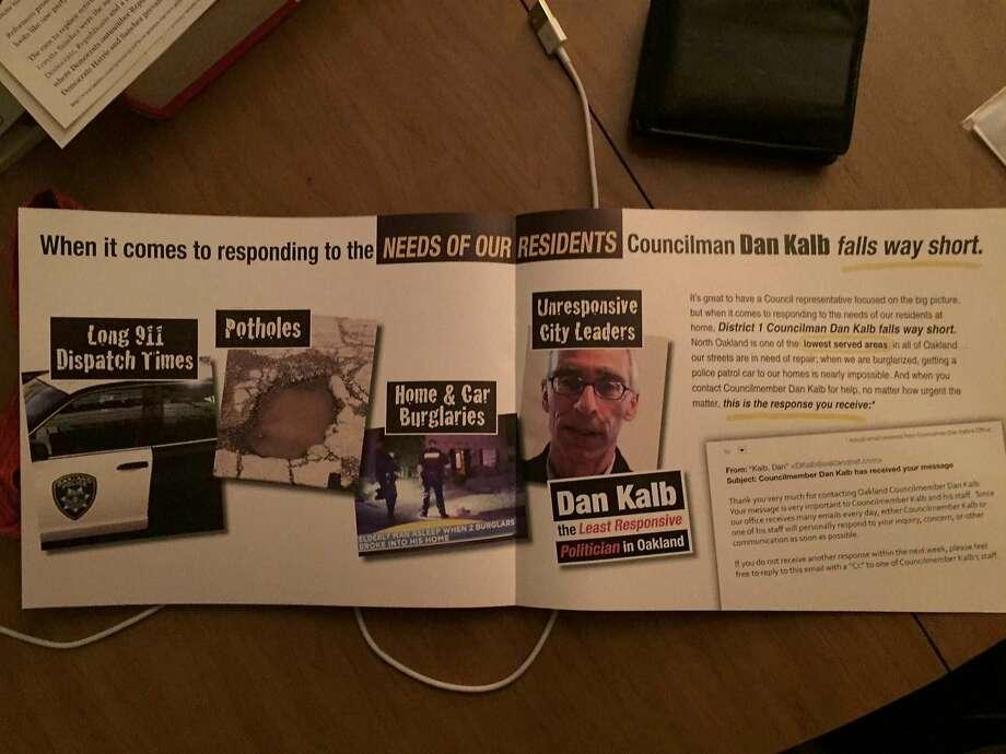 Political mailer targeting Oakland City Councilman Dan Kalb in the Nov. 8, 2016 election Photo: Handout