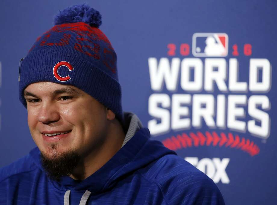 Chicago Cubs' Kyle Schwarber smiles as he answers a question during a news conference for Game 3 of the Major League Baseball World Series against the Cleveland Indians, Thursday, Oct. 27, 2016, in Chicago. (AP Photo/Charles Rex Arbogast) Photo: Charles Rex Arbogast, Associated Press