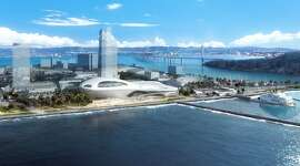 An aerial view of the proposed Lucas Museum of Narrative Art on Treasure Island. Many of the buildings in this renderingdo not yet exist, but are shaped to follow the zoning allowed in redevelopment plans for the former military base. The design is by Ma Yansong, who worked with Zaha Hadid and founded MAD Architects in 2004. Filmmaker George Lucas also has MAD working on a Los Angeles version of the museum, and is expected to make a final decision in early 2017 on which location he will choose.