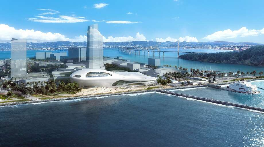 An aerial view of the proposed Lucas Museum of Narrative Art on Treasure Island. Many of the buildings in this renderingdo not yet exist, but are shaped to follow the zoning allowed in redevelopment plans for the former military base. The design is by Ma Yansong, who worked with Zaha Hadid and founded MAD Architects in 2004. Filmmaker George Lucas also has MAD working on a Los Angeles version of the museum, and is expected to make a final decision in early 2017 on which location he will choose. Photo: Lucas Museum Of Narrative Art
