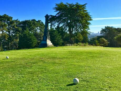 The Seaman's Friends' Monument near the tee at Lincoln Park Golf Course, which used to be Golden Gate Cemetery. Photo: Greg Keraghosian