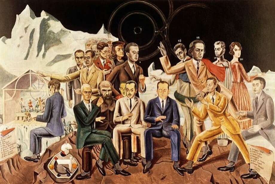 """A Friends' Reunion,"" a 1922 oil on canvas by the German artist and Dada pioneer Max Ernst (who is shown seated, second from left). Photo: Photo 12 / UIG Via Getty Images, UIG Via Getty Images"