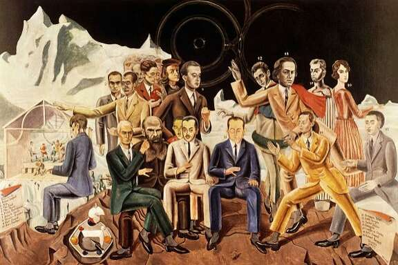 """A Friends' Reunion,"" a 1922 oil on canvas by the German artist and Dada pioneer Max Ernst (who is shown seated, second from left."
