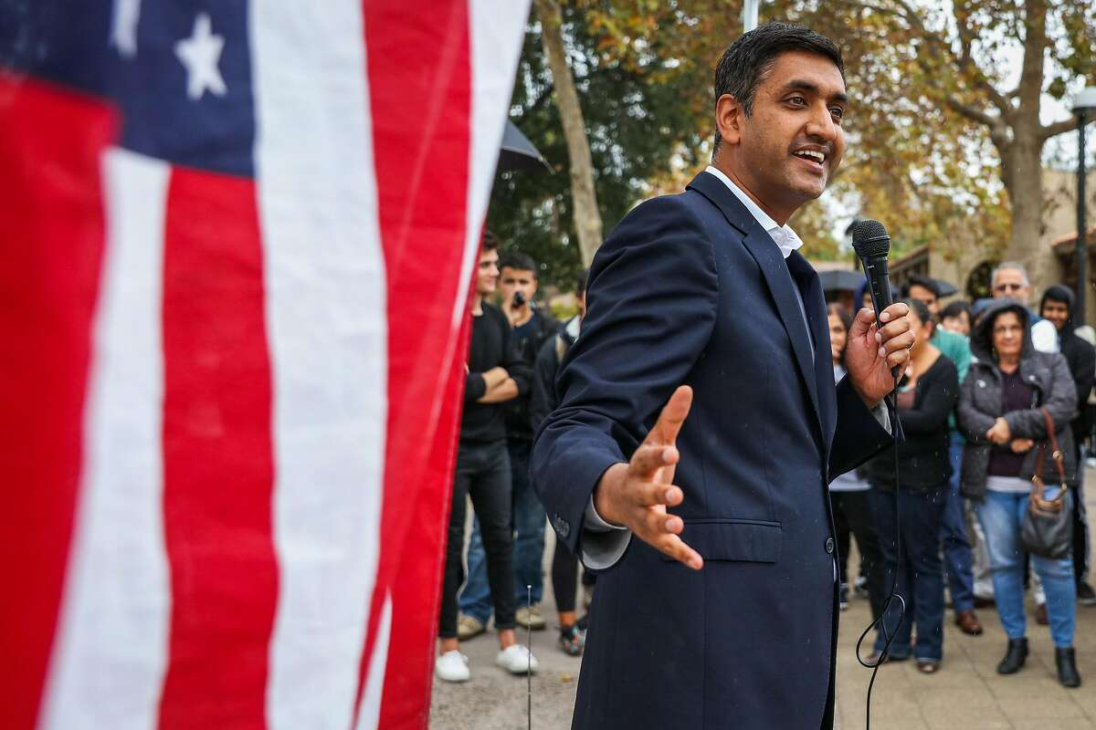 South bay congressional candidate Ro Khanna speaks at a rally at DeAnza College, in Cupertino, California, on Thursday, Oct. 27, 2016.