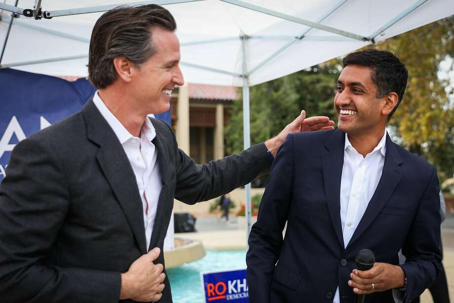 Lt. Gov. Gavin Newsom (left) appears with candidate Ro Khanna to assist in his pursuit of the youth vote at an event at  De Anza College. Photo: Gabrielle Lurie, The Chronicle