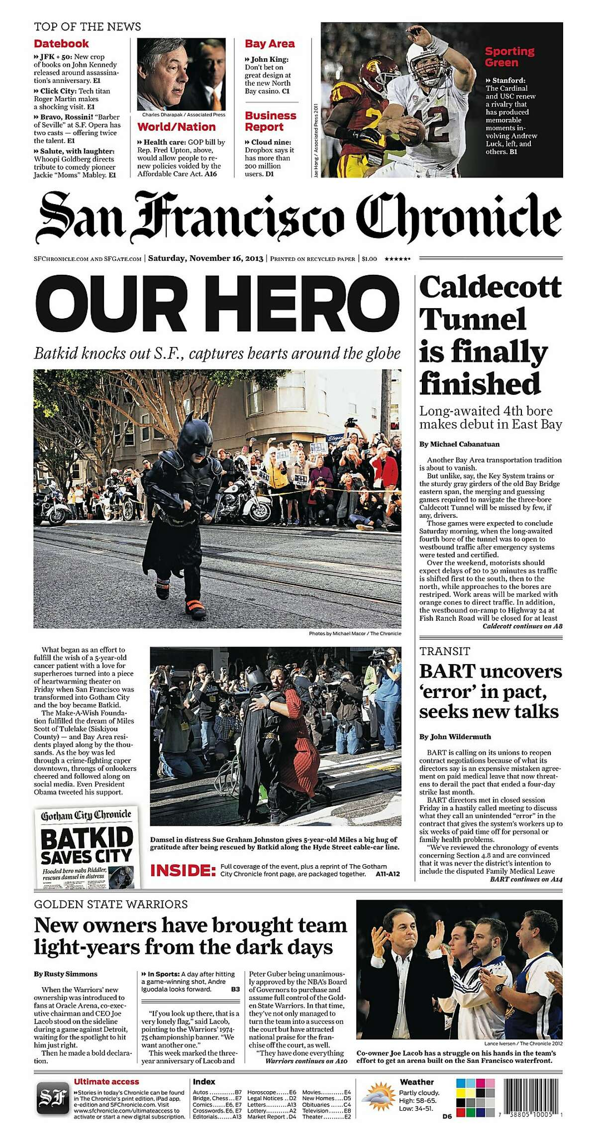 Historic Chronicle Front Page November 16, 2013 The San Francisco Chronicle and the City of San Francisco participate in the Batkid event. A facsimile paper was distributed throughout the city.