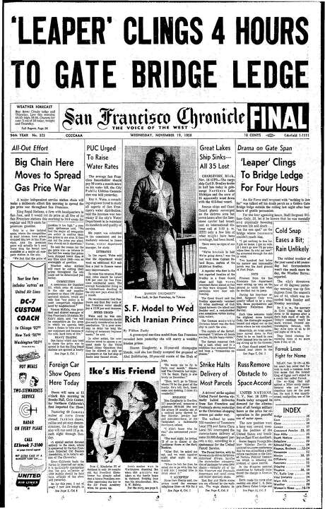 The Chronicle's front page from Nov. 19, 1958, covers the rescue of a potential Golden Gate Bridge jumper. Photo: The Chronicle 1958