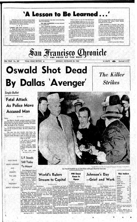 The Chronicle's front page from Nov. 25, 1963, covers the killing of Lee Harvey Oswald. Photo: The Chronicle 1963