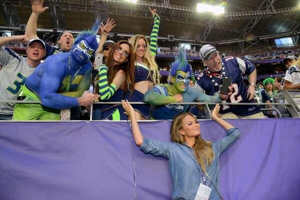 Model Chrissy Teigen attends Super Bowl XLIX at University of Phoenix Stadium on February 1, 2015 in Glendale, Arizona.  (Photo by Kevin Mazur/WireImage)