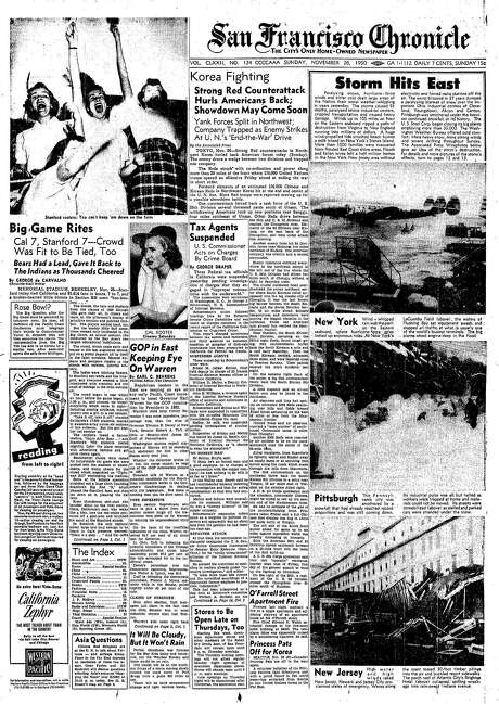 """The Chronicle's front page from Nov. 26, 1950, covers the """"Storm of the Century"""" battering the East Coast. Photo: The Chronicle 1950"""