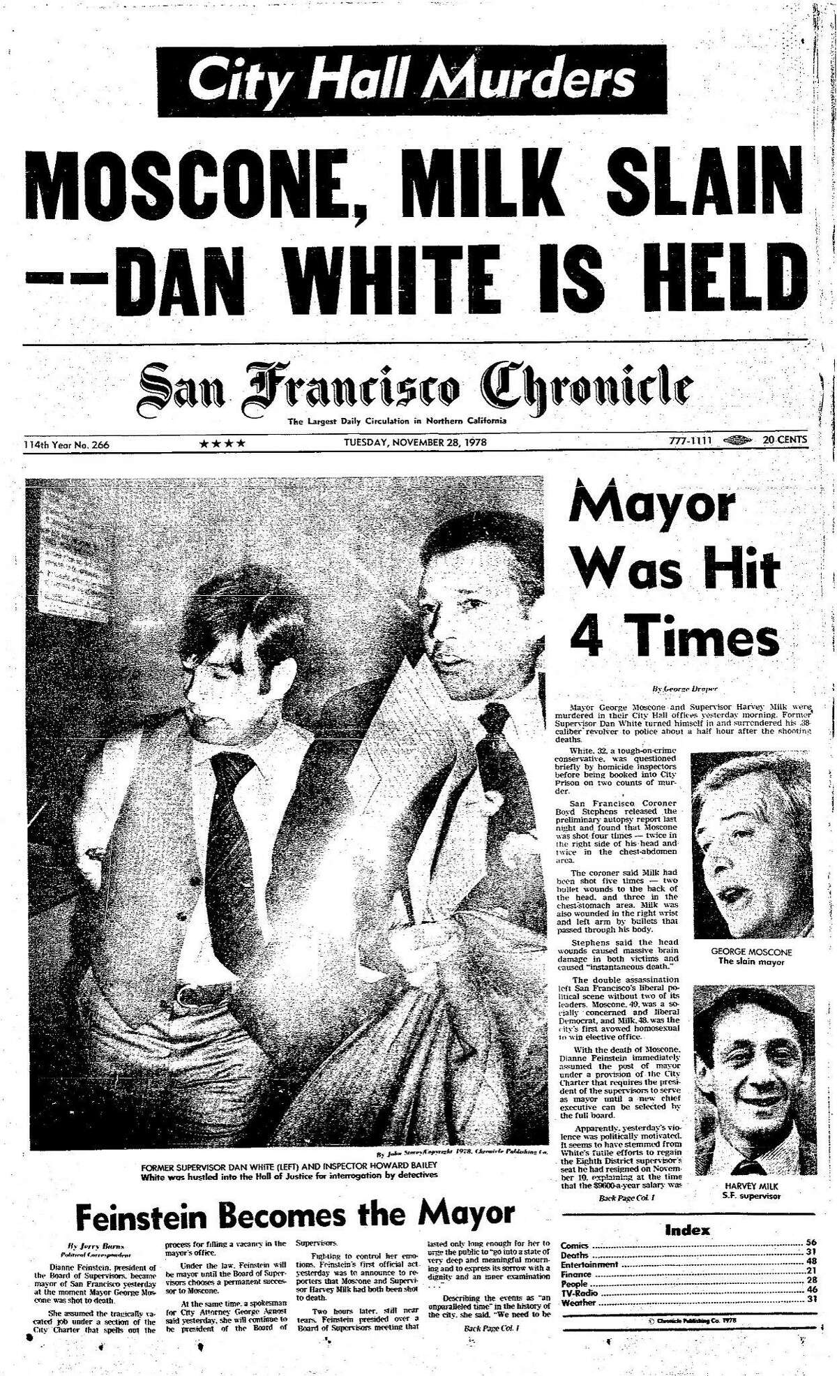 Historic Chronicle Front Page November 28, 1978 San Francisco Mayor George Moscone and Supervisor Harvey Milk are murdered at City Hall by Supervisor Dan White Chron365, Chroncover