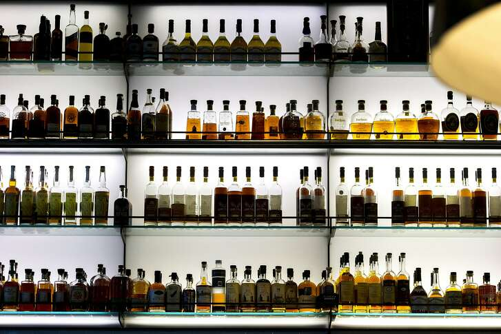 The liquor at Hard Water, a whiskey bar, near Pier 3 in the Embarcadero, on Thursday, Oct. 27, 2016 in San Francisco, Calif.