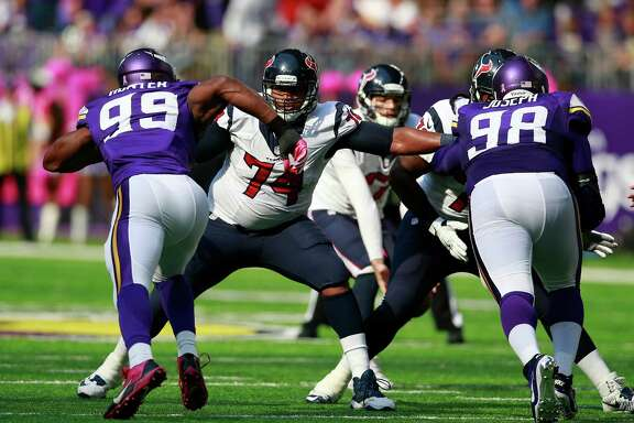 Tackle Chris Clark (74) has had a busy workload this season for the Texans - first filling in for Duane Brown on the left side and now taking over for Derek Newton on the right.