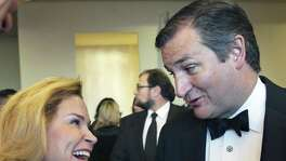 Texas Senator Ted Cruz and wife Heidi attend as Warren Buffet is honored at the Texas Business Hall of Fame banquet at the Grand Hyatt Hotel on October 27, 2016