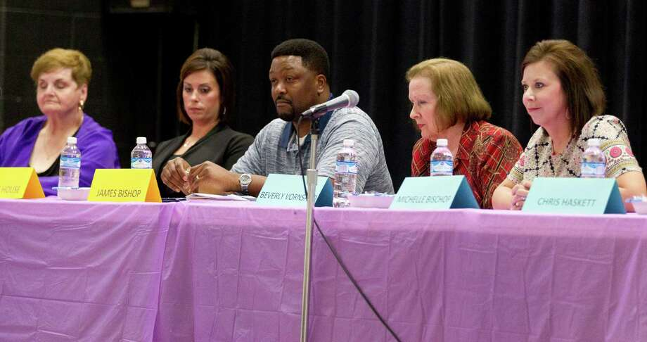 Willis ISD school board member candidates for position 2 and 6 take part in a forum Thursday. Photo: Jason Fochtman, Staff Photographer / Houston Chronicle