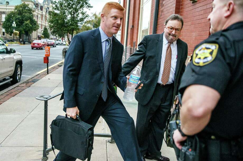 Former Penn State football assistant coach Mike McQueary arrives, Thursday, Oct. 20, 2016 at Centre County court in Bellefonte, Pa. Former Penn State President Graham Spanier testified Thursday that he issued a statement the day two of his top lieutenants were charged in the Jerry Sandusky child sexual abuse scandal, calling the allegations against them groundless, because he had developed deep trust in them. (Dan Gleiter/PennLive.com via AP) Photo: Dan Gleiter, MBI / PennLive.com