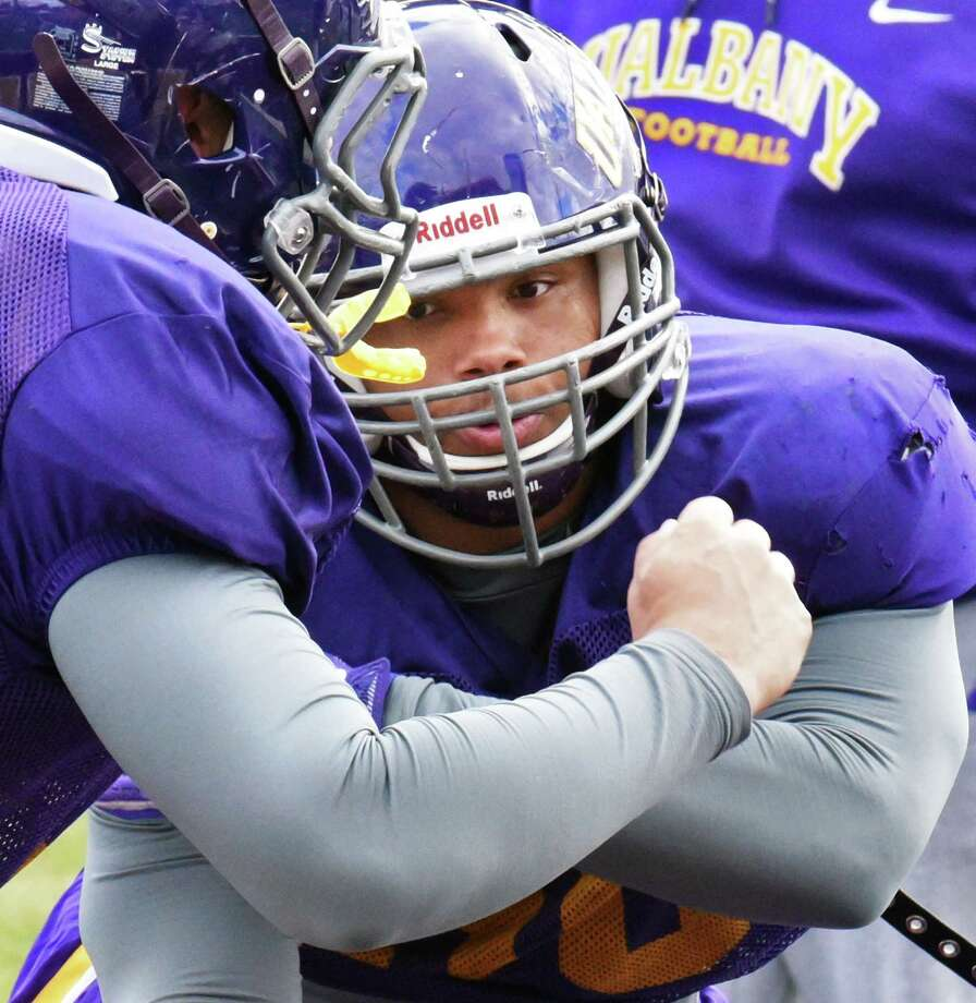 Defensive tackle DaeSean Timmons works out during UAlbany football practice at Casey Stadium Wednesday Oct. 26, 2016 in Albany, NY.  (John Carl D'Annibale / Times Union) Photo: John Carl D'Annibale / 20038542A