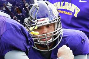 Defensive tackle DaeSean Timmons works out during UAlbany football practice at Casey Stadium Wednesday Oct. 26, 2016 in Albany, NY.  (John Carl D'Annibale / Times Union)