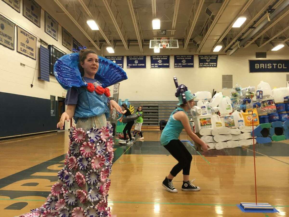 FILE - Emily Sasser performs her part in the Stamford Mixed Middle School Team's Odyssey of the Mind World Finals sketch.