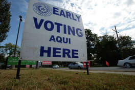 A sign at the John Paul Davis Community Center on Lucas alerts motorists about early voting. Voting began Monday and will continue till election day on November 8.  Photo taken Monday, October 24, 2016 Guiseppe Barranco/The Enterprise