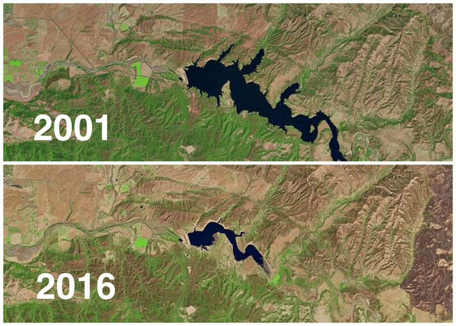 THESE IMAGES SHOW HOW CALIFORNIA'S RESERVOIRS HAVE SHRUNK SINCE 20012001 vs. 2016Lake CachumaLocated in the Santa Ynez Valley of central Santa Barbara County, this artificial lake was created by the construction of Bradbury Dam in 1953. Photo: Lakepedia / USGS / Landsat 7, 8