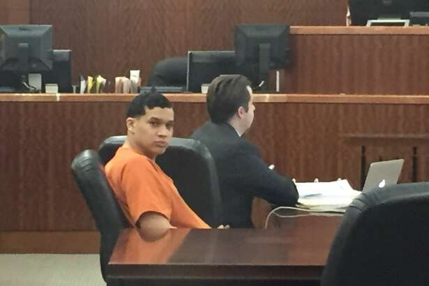 Mark Anthony Inestroza appears in court on Friday, Oct. 28, 2016. The 23-year-old Houston man faces life in prison after being convicted of forcing a teenage girl into prostitution.