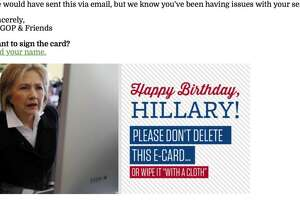 An email sent out by the CA GOP on Hillary Clinton's birthday.
