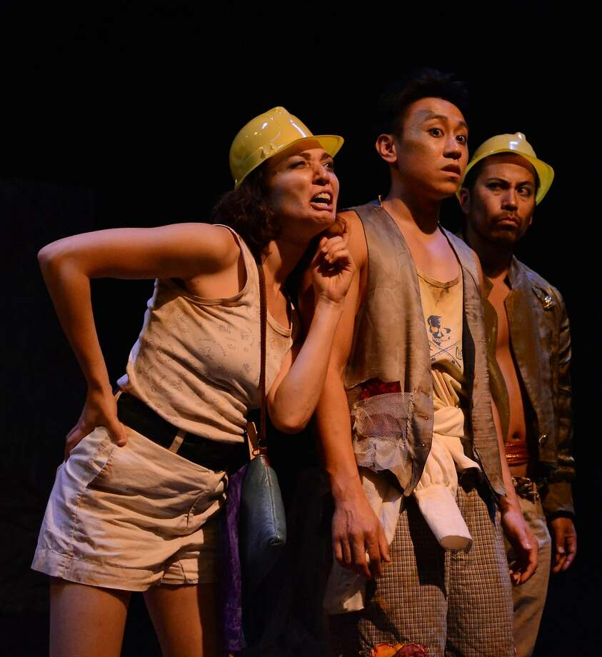 Ayelet Firstenberg, left), her brother Tombi (Steven Ho) and Mizukane, the amorous suitor (Enormvz Muñoz), try figure out what to do next in Theatre of Yugens The Red Demon. Photo: Gabe Maxson, Theatre Of Yugen