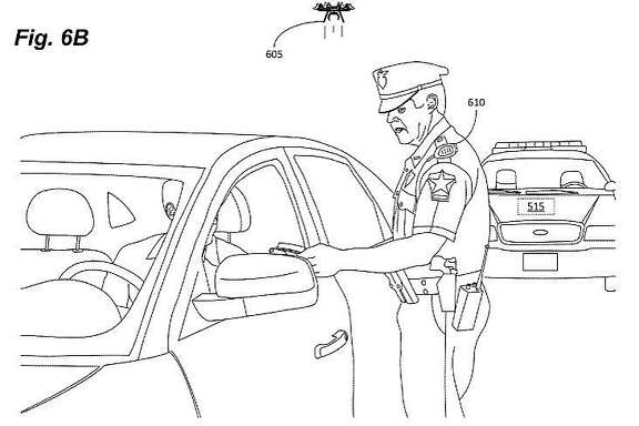 This drawing shows how a drone might be used to monitor a traffic stop. Amazon Technologies was granted a patent for the device last week.