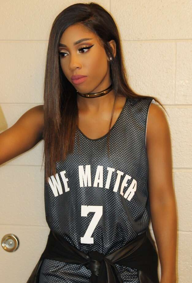 "This photo provided by Atlantic Records shows Sevyn Streeter at an arena for an NBA basketball game between the Philadelphia 76ers and Oklahoma City Thunder in Philadelphia on Wednesday, Oct. 26, 2016. Philadelphia 76ers national anthem singer Streeter said she was told by the team she could not perform because of her ""We Matter"" jersey. (Sevyn Streeter/Atlantic Records via AP) Photo: Sevyn Streeter, Associated Press"