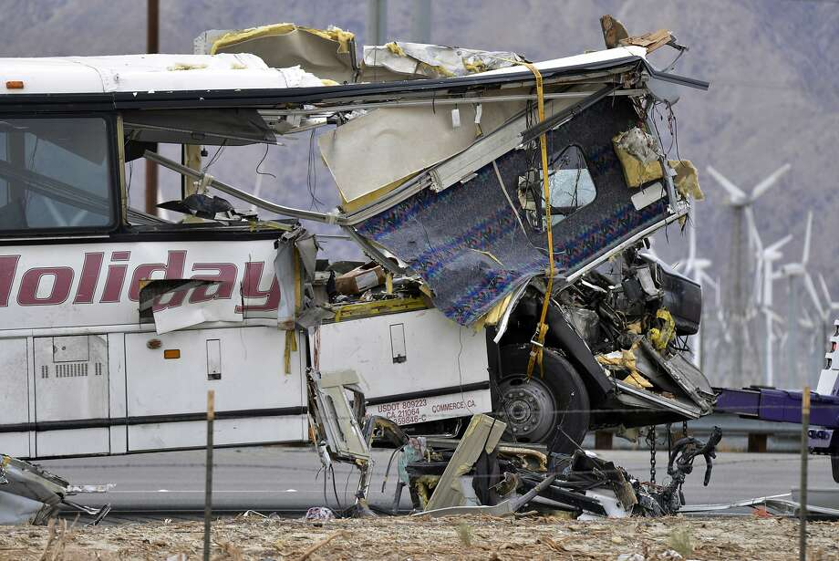 Thirteen people were killed last Sunday in the crash of a passenger bus near Palm Springs. Photo: Rodrigo Pena, Associated Press