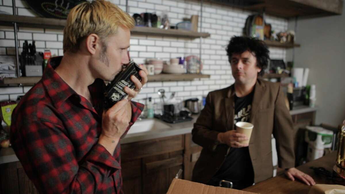Green Day's Mike Dirnt (left) and Billie Joe Armstrong (right).