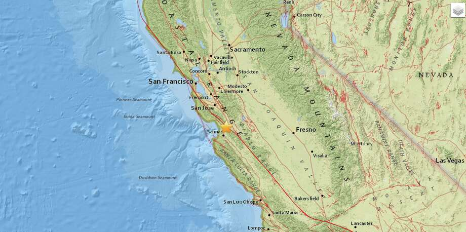 A magnitude 2.8 earthquake hit two miles west-northwest of San Juan Bautista on Oct. 28 at 11:14:56 a.m. Photo: USGS
