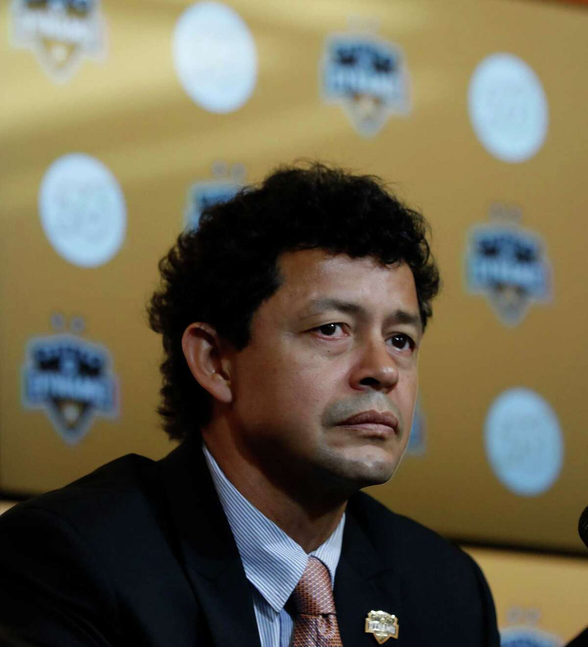Wilmer Cabrera speaks after being introduced as the new head coach for the Houston Dynamo at BBVA Compass Friday,Oct. 28, 2016 in Houston.