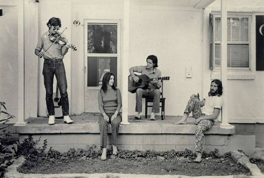 """Townes Van Zandt, from left, Susanna Clark, Guy Clark and a friend appear in """"Be Here to Love Me,"""" a documentary about Clark's musical colleague Van Zandt, which was released in 2005. / handout email"""