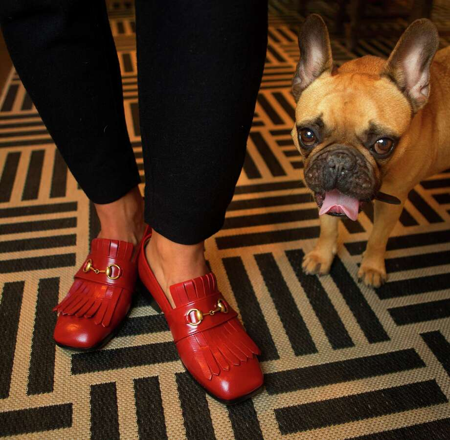 Landa models his red Gucci loafers while his French bulldog, Moe, is obviously uninterested. Photo: Mark Mulligan, Staff / © 2016 Houston Chronicle