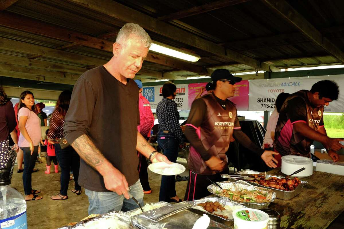 Anthony Bourdain at the Houston Indian Cricket Club.
