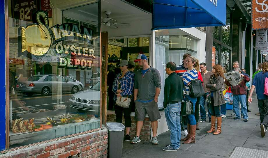 The line outside of Swan Oyster Depot. Photo: John Storey / Special To The Chronicle