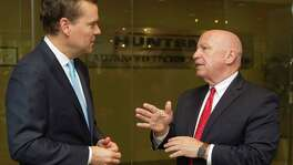 Peter Huntsman, president and CEO of Huntsman, speaks with U.S. Rep. Kevin Brady, R-The Woodlands, before a tour of the company's operation in The Woodlands Tuesday, Oct. 25, 2016.