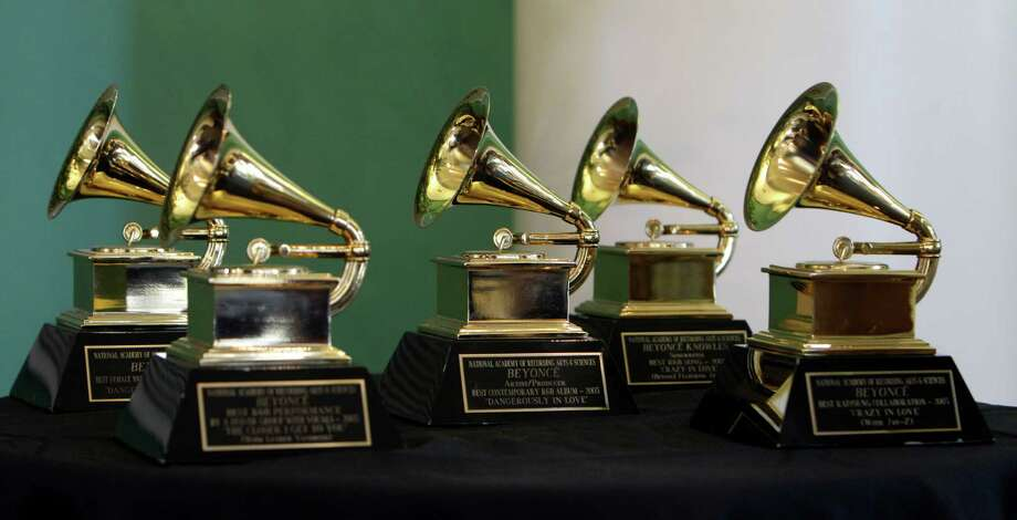 Beyonce's five 2003 Grammy awards on display during program featuring her mother, Tina Knowles, at the University of Houston MD Anderson Library,  Monday, Oct. 3, 2011, in Houston.  Photo: Melissa Phillip, Staff / © Houston Chronicle