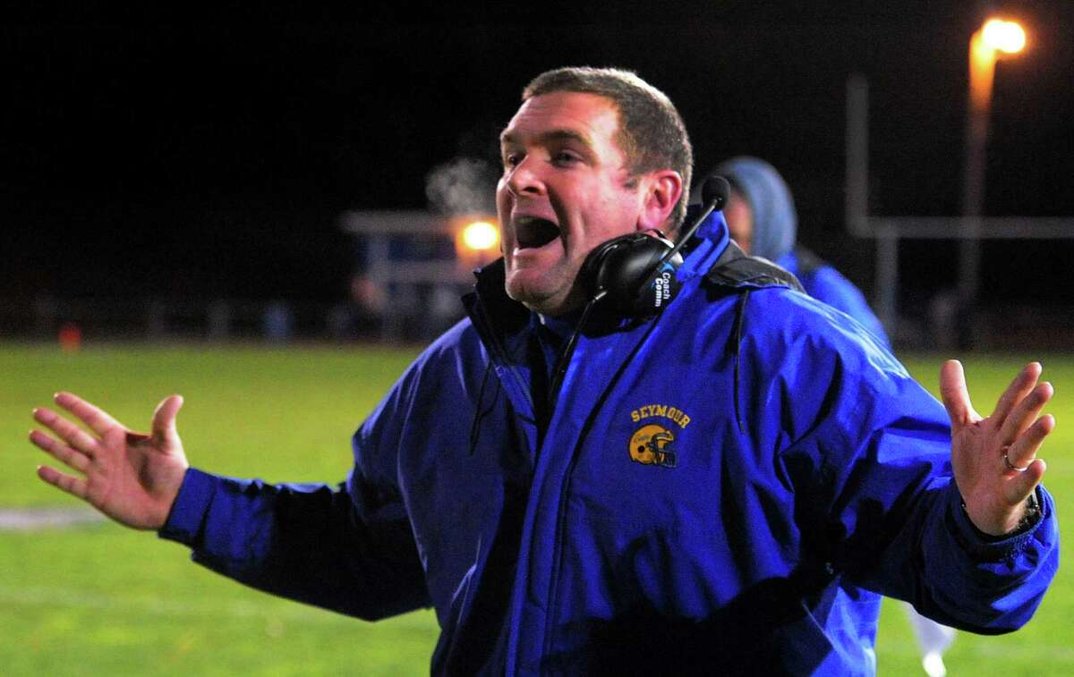 Seymour Head Coach Tom Lennon during high school football action against Ansonia in Ansonia, Conn. on Friday Oct. 28, 2016.