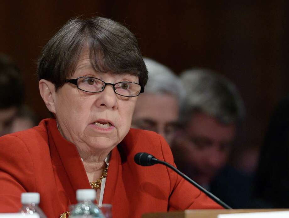 The U.S. Securities and Exchange Commission Chairwoman Mary Jo White testifies before the Senate Banking, Housing and Urban Affairs Committee during a hearing to examine financial stability and data security on Feb. 6, 2016 on Capitol hill in Washington D.C. (Yin Bogu/Xinhua/Sipa USA/TNS) Photo: Xinhua, MBR / Sipa USA