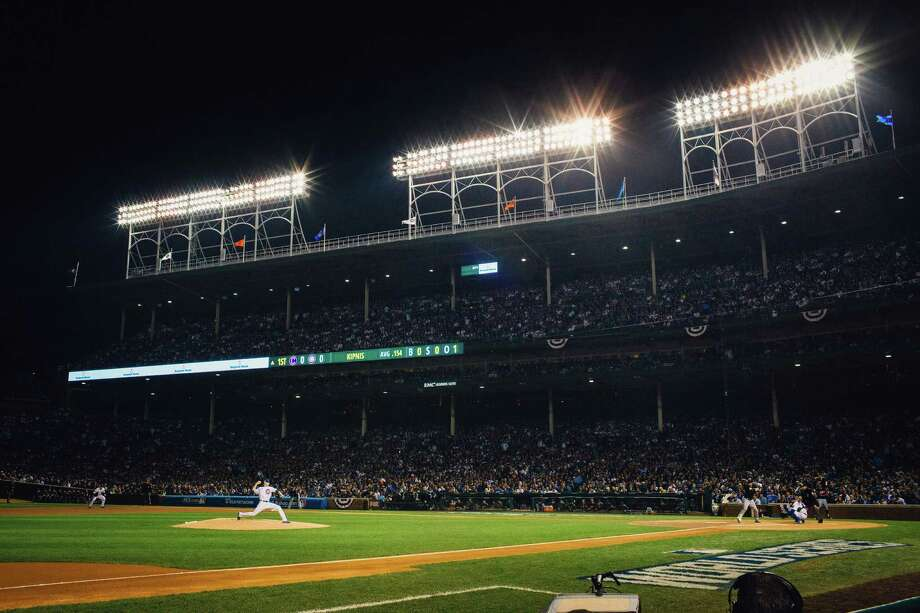 Kyle Hendricks on the mound for the Chicago Cubs during Game 3 of the World Series at Wrigley Field in Chicago, Oct. 28, 2016.  (Alyssa Schukar/The New York Times) Photo: ALYSSA SCHUKAR, STR / NYTNS